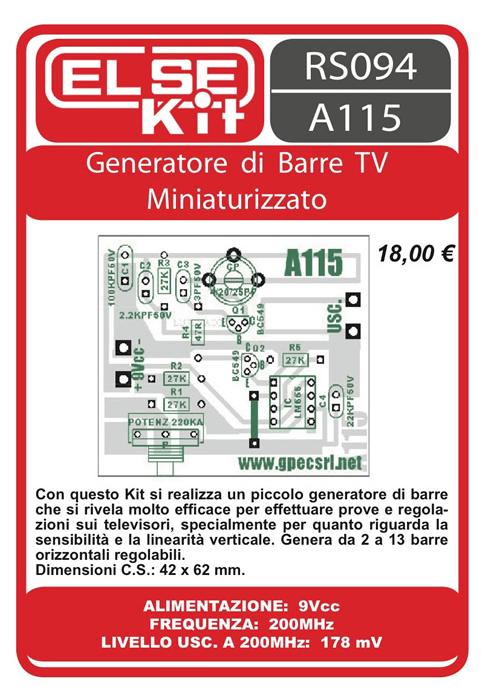 ELSE KIT RS094 Generatore di Barre TV Kit elettronico