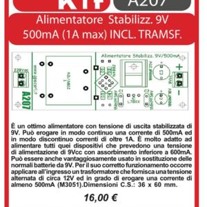 ELSE KIT RS211 Alimentatore steb. 9V 500mA Kit elettronico