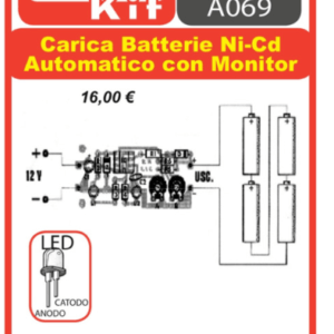 ELSE KIT RS313  Carica Batterie Ni-Cd Automatico con Monitor Kit elettronico