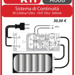 ELSE KIT RS395  Sistema di Continuità In 220Vca/12Vcc Out 5Vcc 500mA Kit elettronico