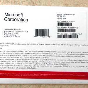 Microsoft Windows 10 Pro Professional OEM 64 bit DVD Key COA sticker in Italiano