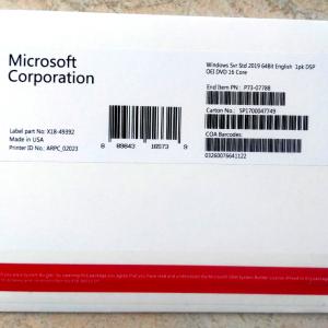 Microsoft Windows Server 2019 Standard OEM/OEI 16 CORE 5 CALS 64 bit DVD Key COA sticker in Inglese/English